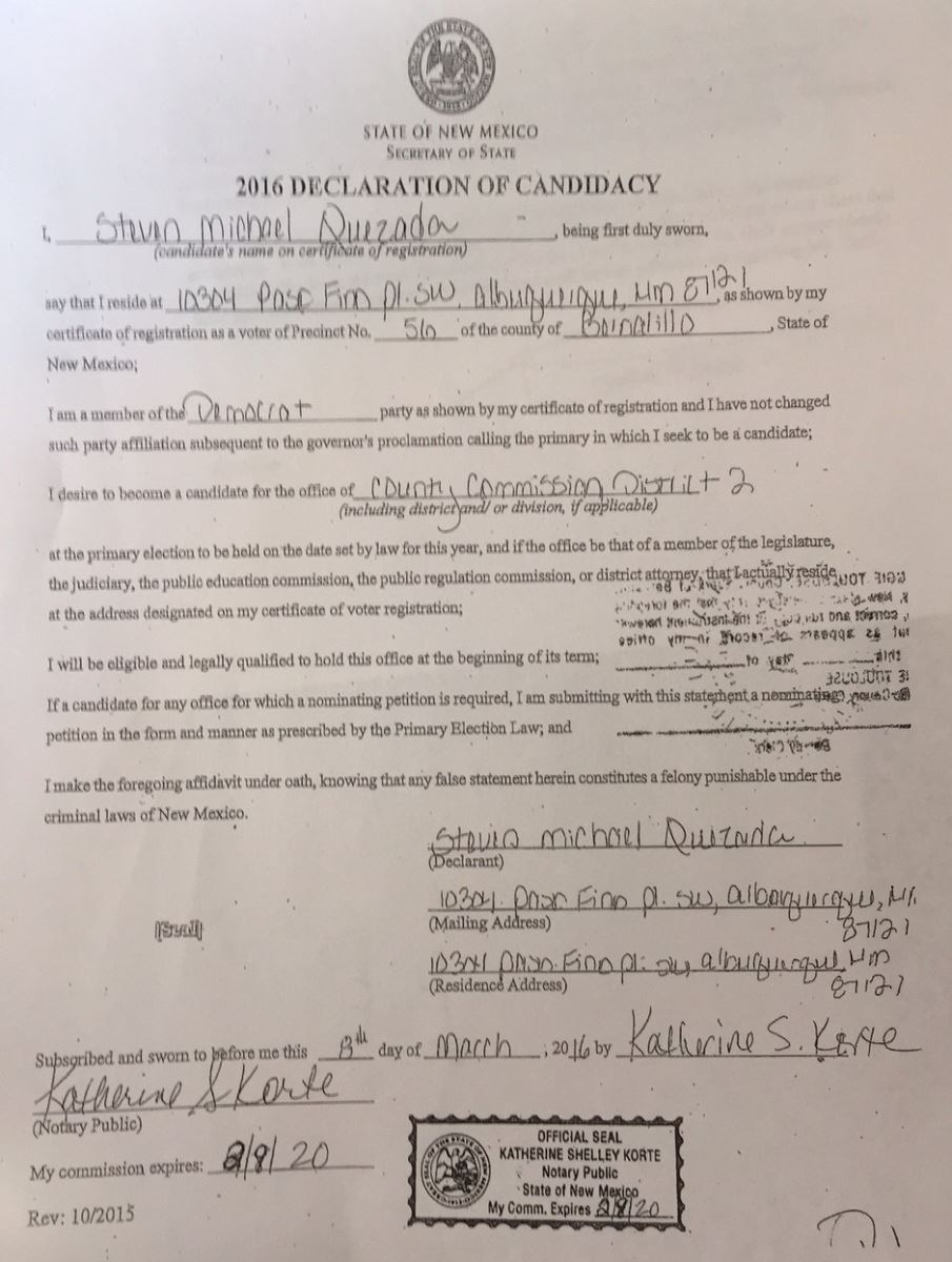 On The Left Is A Declaration Of Candidacy For Steven Michael Quezada,  Though As Can How To Become A Notary